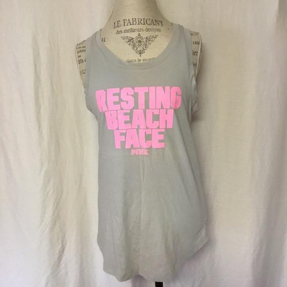 b9a829efb8 PINK Victoria's Secret Tops | Vs Pink Resting Beach Face Oversized ...